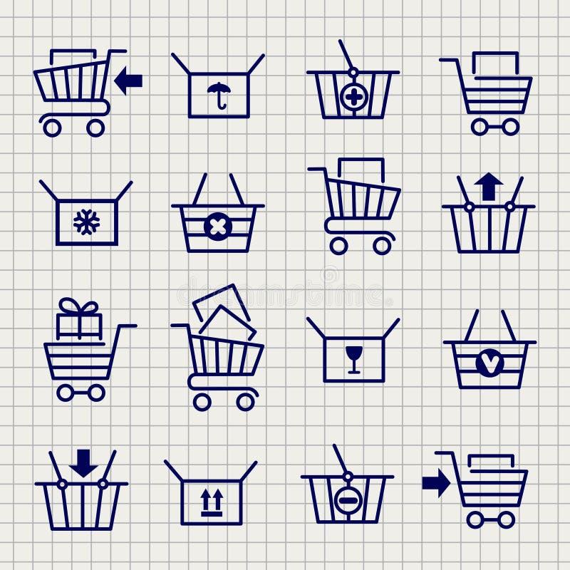 Ícones do esboço do carrinho de compras ou do trole ilustração royalty free