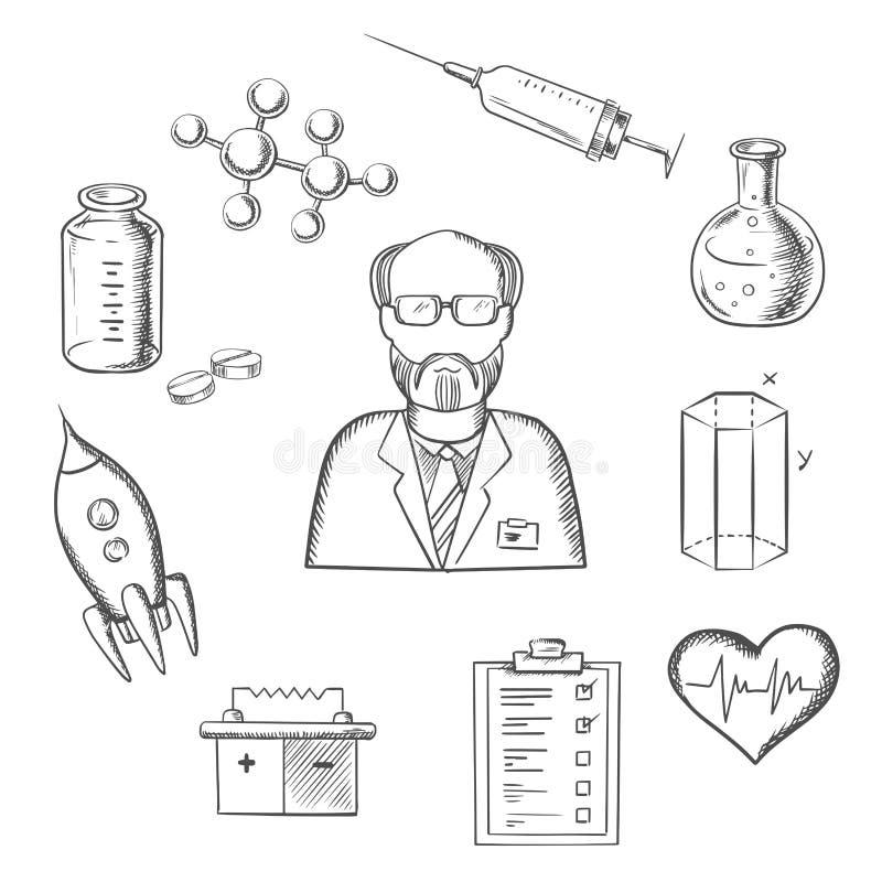 Ícones do esboço do cientista e da pesquisa da ciência ilustração stock