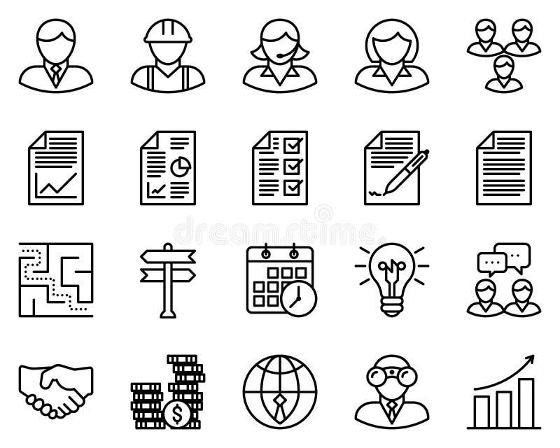 Ícones do esboço do negócio ilustração royalty free