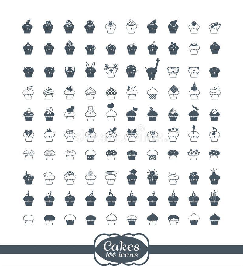 100 ícones do esboço do queque ilustração royalty free