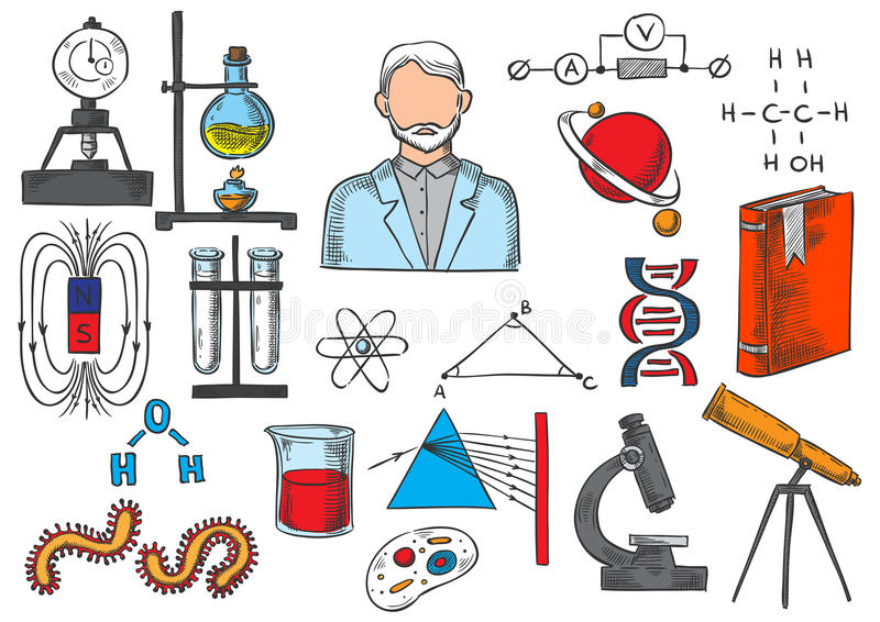 Ícones do esboço do vetor dos artigos da ciência ilustração stock
