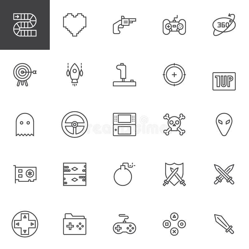 Ícones do esboço dos elementos do jogo de vídeo ajustados ilustração stock