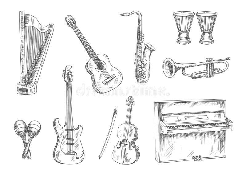 Ícones do esboço dos instrumentos musicais para o projeto da arte ilustração do vetor