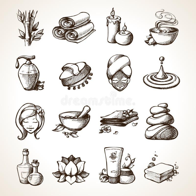 Ícones do esboço dos termas ilustração stock