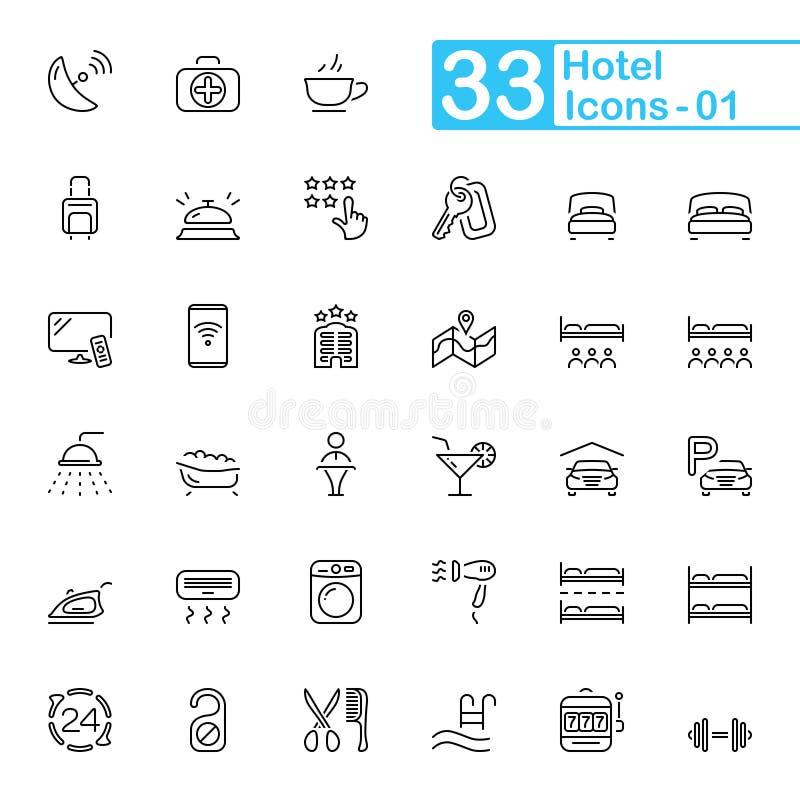 Ícones do esboço do hotel e dos serviços de hotel imagem de stock
