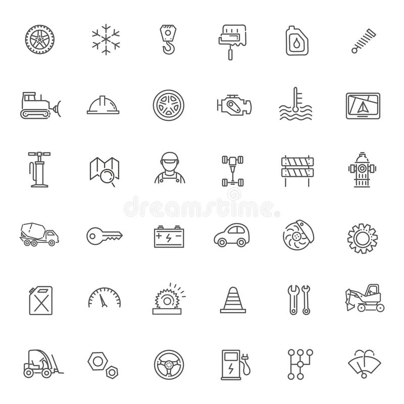 Ícones do esboço Peças e serviços do carro
