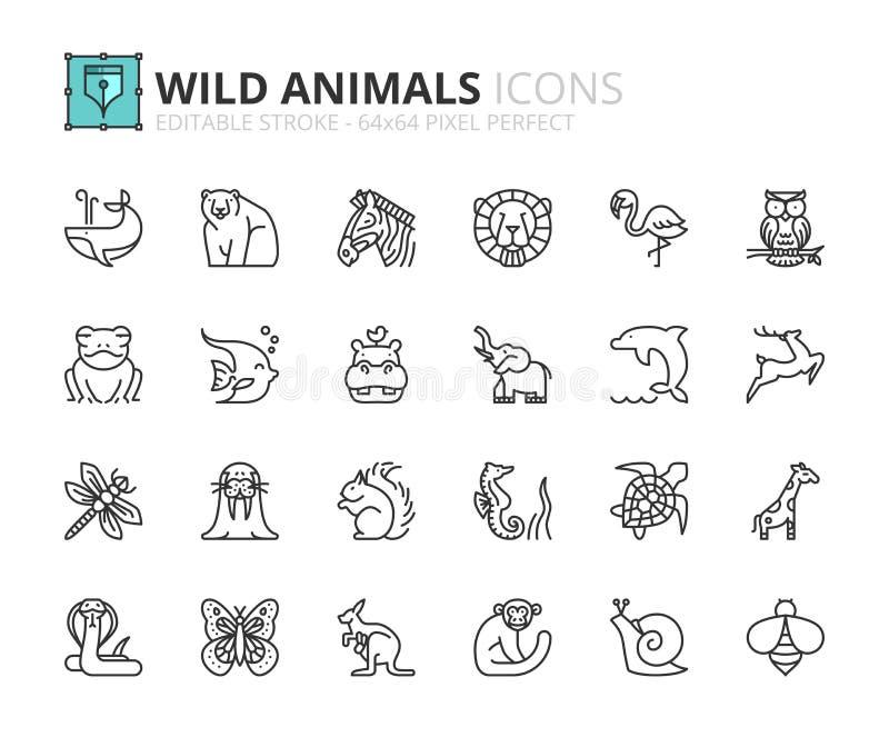 Ícones do esboço sobre animais selvagens ilustração stock
