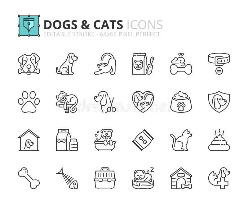 Ícones do esboço sobre cães e gato ilustração stock