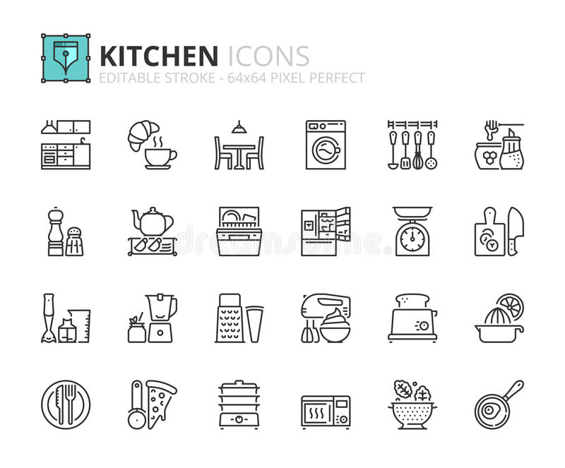 Ícones do esboço sobre a cozinha ilustração stock