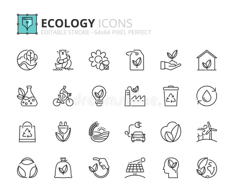 Ícones do esboço sobre a ecologia ilustração stock