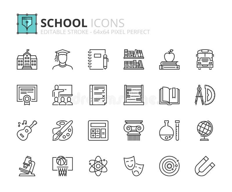 Ícones do esboço sobre a escola ilustração royalty free