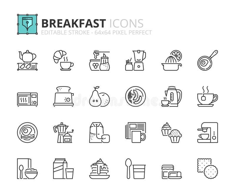 Ícones do esboço sobre o café da manhã ilustração do vetor