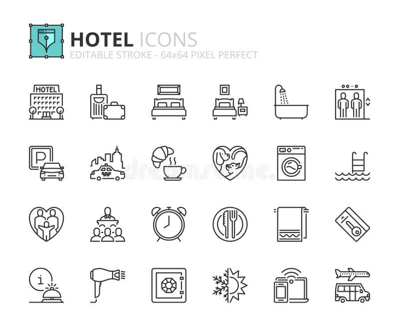 Ícones do esboço sobre o hotel ilustração royalty free