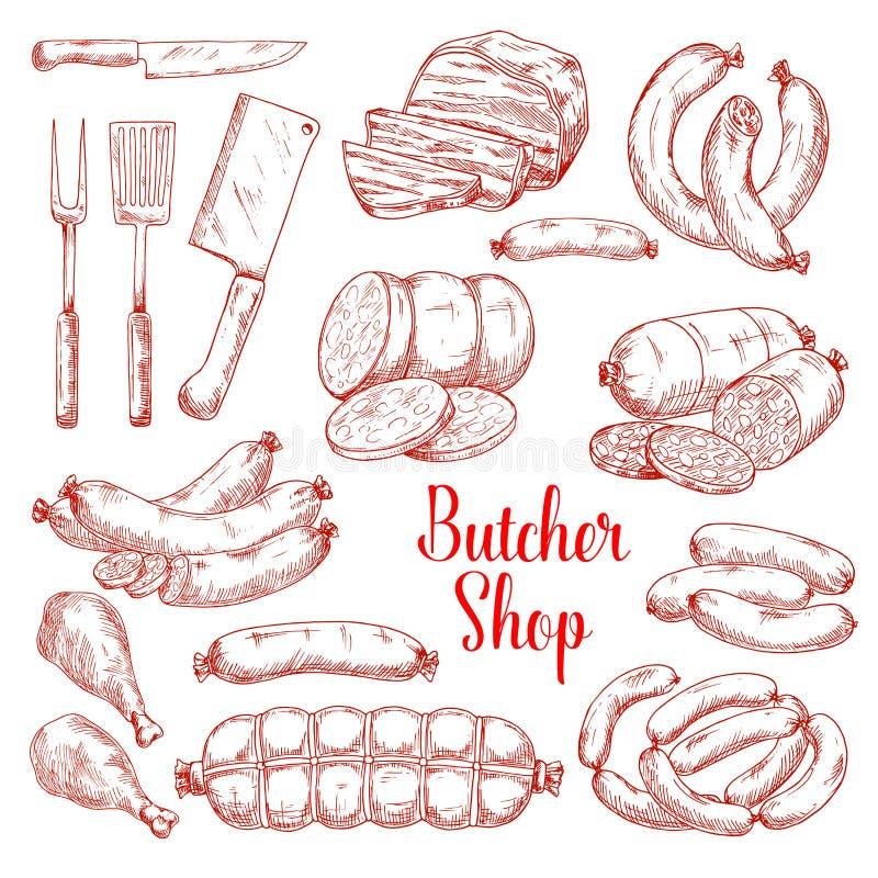 Ícones do esboço do vetor de produtos de carne do açougue ilustração royalty free