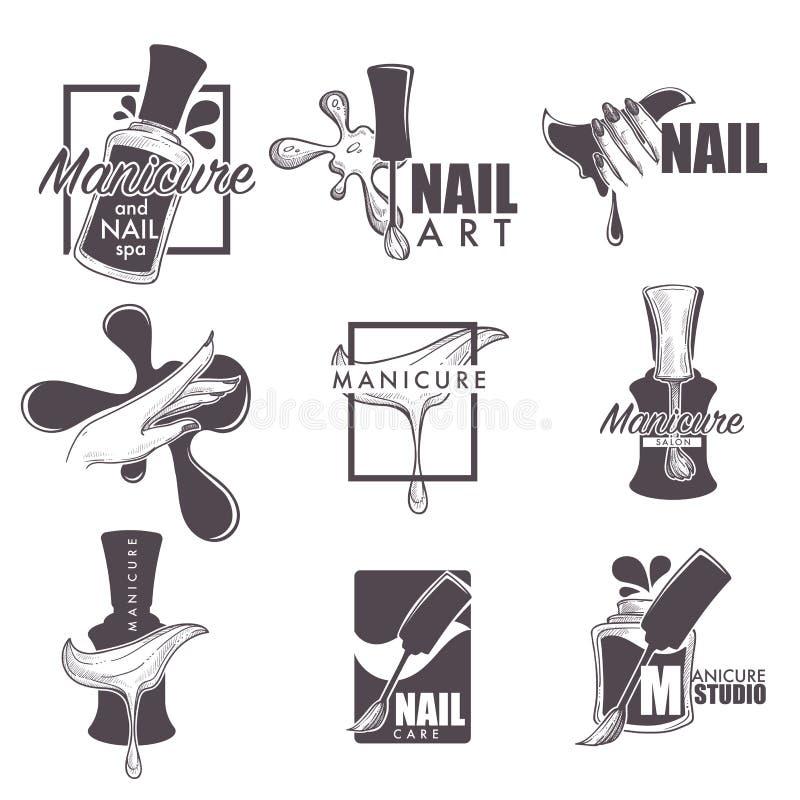 Ícones do esboço do vetor dos termas do tratamento de mãos e do prego ilustração stock