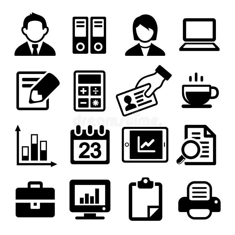 Ícones do escritório ajustados ilustração stock