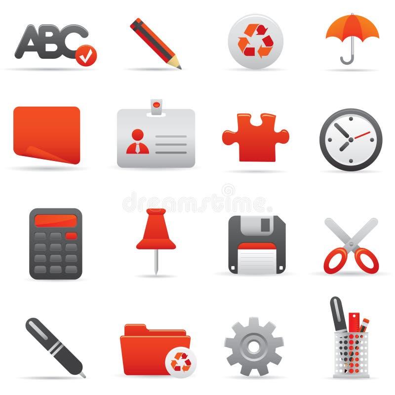 Ícones do escritório ajustados   Serie vermelho 01 ilustração royalty free