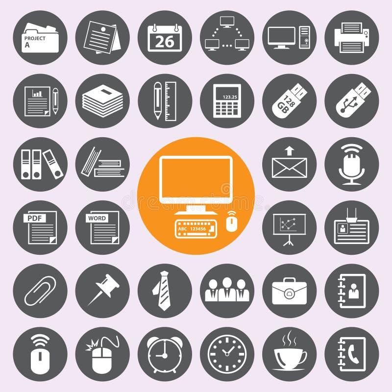 Ícones do escritório ajustados Vetora/EPS10 ilustração stock