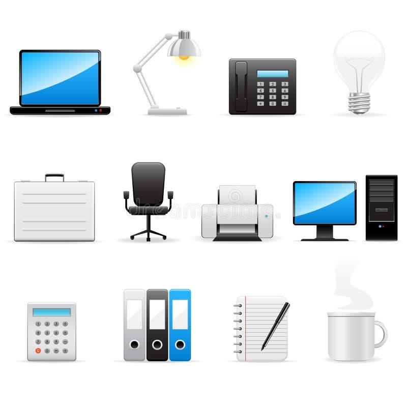 Ícones do escritório e do negócio ajustados ilustração royalty free