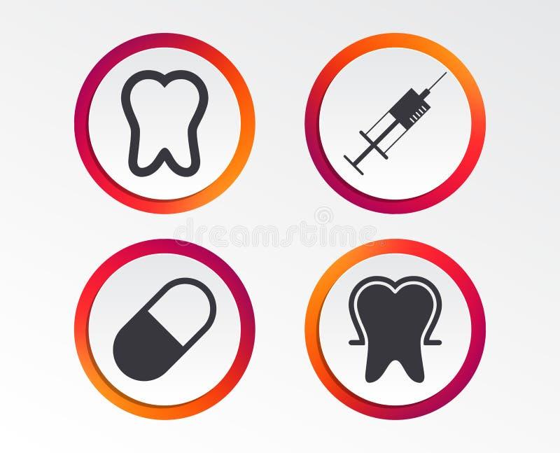 Ícones do esmalte de dente Seringa e comprimido médicos ilustração stock