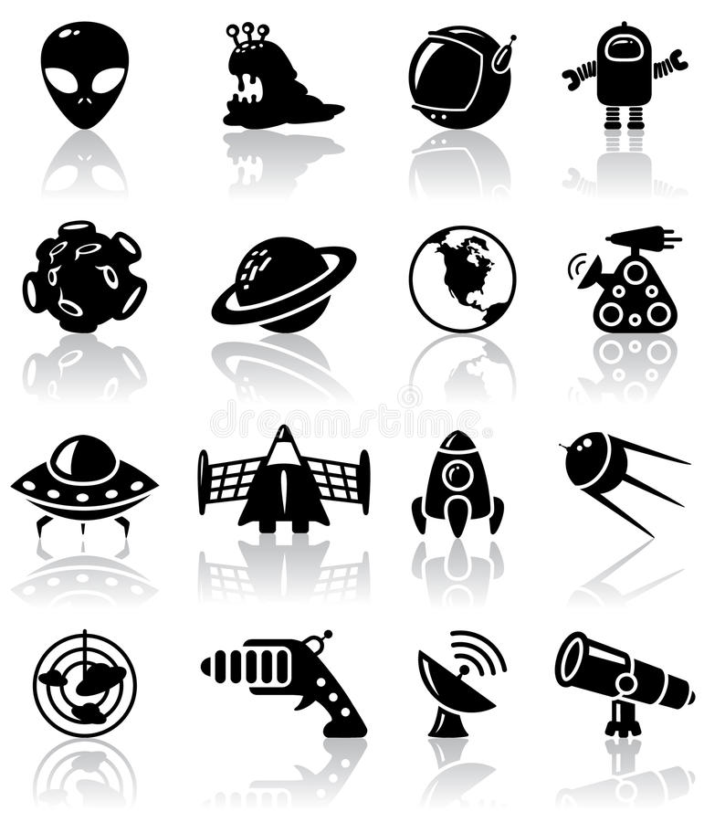 Ícones do espaço foto de stock
