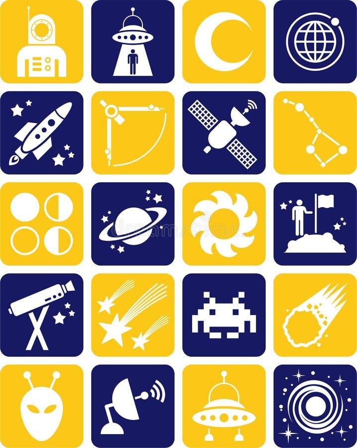 Ícones do espaço ilustração stock