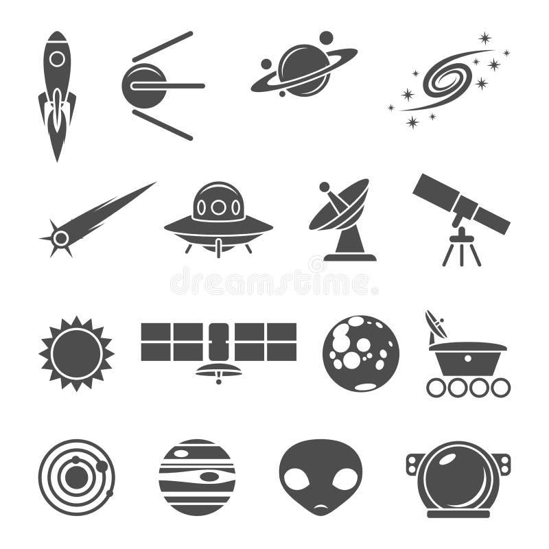 Ícones do espaço ajustados ilustração stock