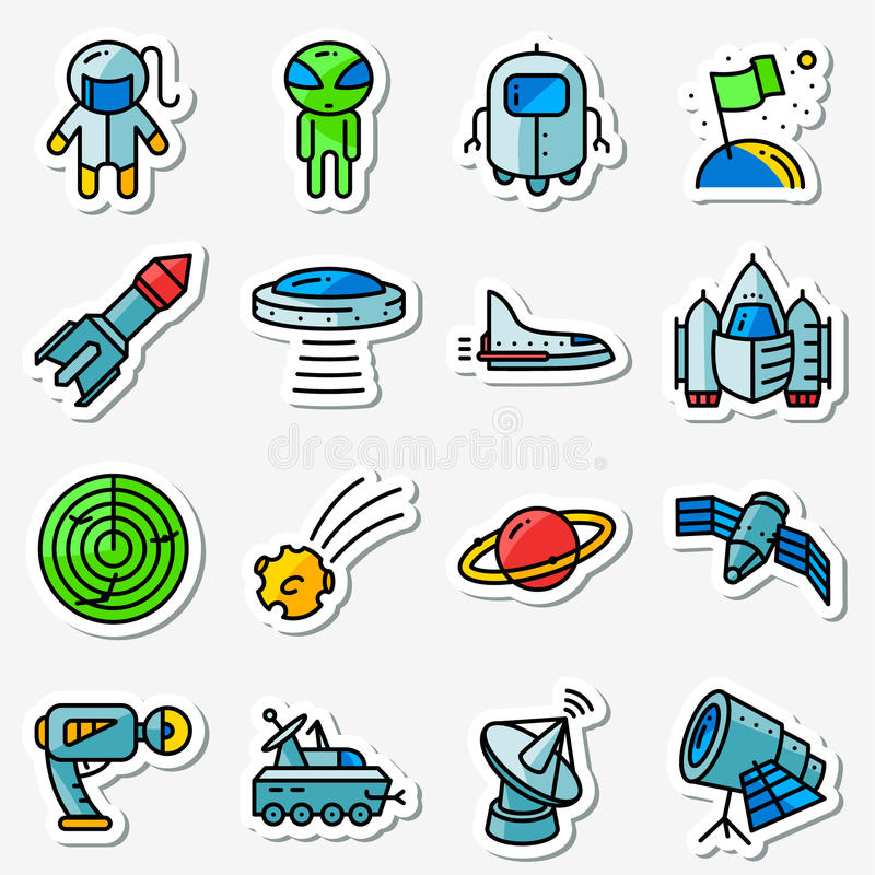 Ícones do espaço de vetor ajustados Dilua simplesmente etiquetas com a tecnologia ilustração royalty free