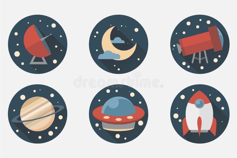 Ícones do espaço Projeto liso imagens de stock royalty free