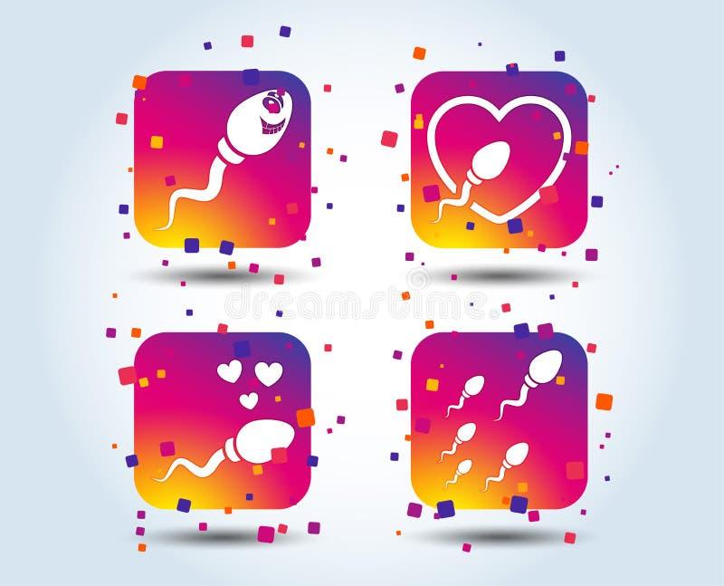 Ícones do esperma Sinais da fecundação ou da inseminação ilustração stock