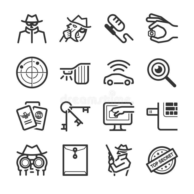 Ícones do espião ilustração royalty free