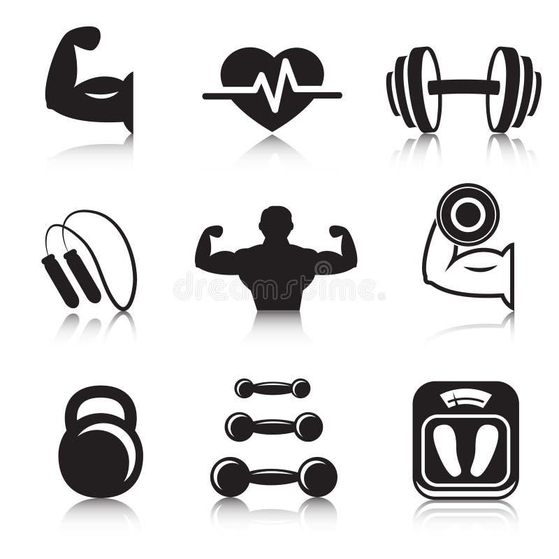 Ícones do esporte do halterofilismo da aptidão ajustados ilustração stock