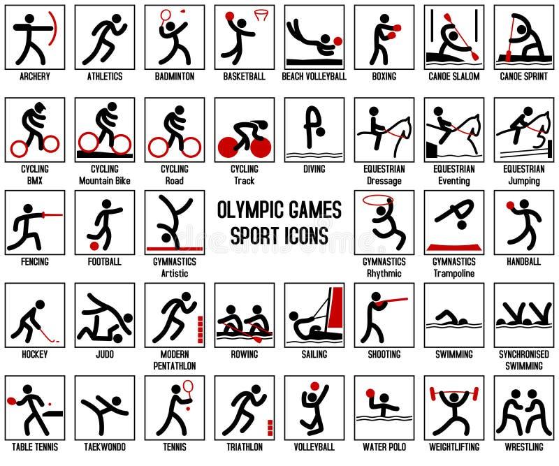 Ícones do esporte dos Jogos Olímpicos ilustração royalty free