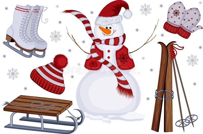 Ícones do esporte e do lazer de inverno ilustração stock
