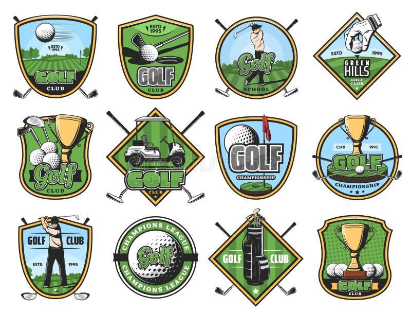 Ícones do esporte do golfe, jogador de golfe e artigos ostentando ilustração royalty free