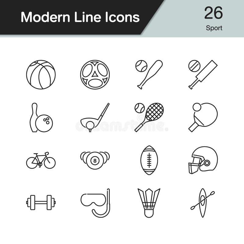 Ícones do esporte A linha moderna projeto ajustou 26 Para a apresentação, graphi ilustração royalty free