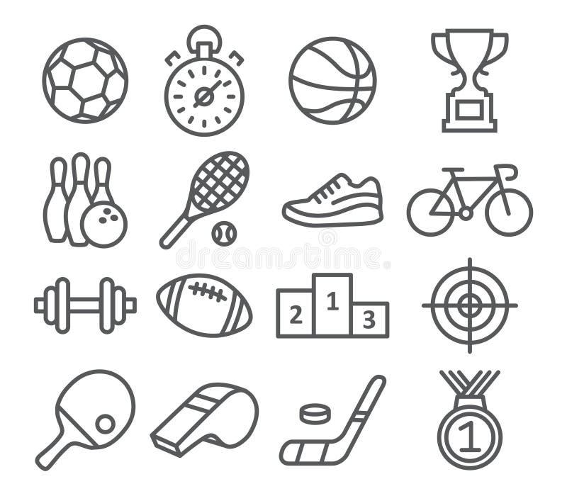 Ícones do esporte no estilo linear na moda ilustração royalty free