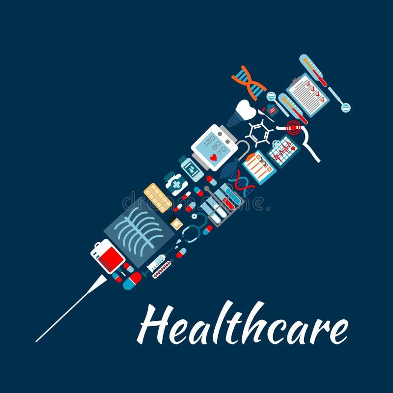 Ícones do exame médico que criam o símbolo da seringa ilustração do vetor