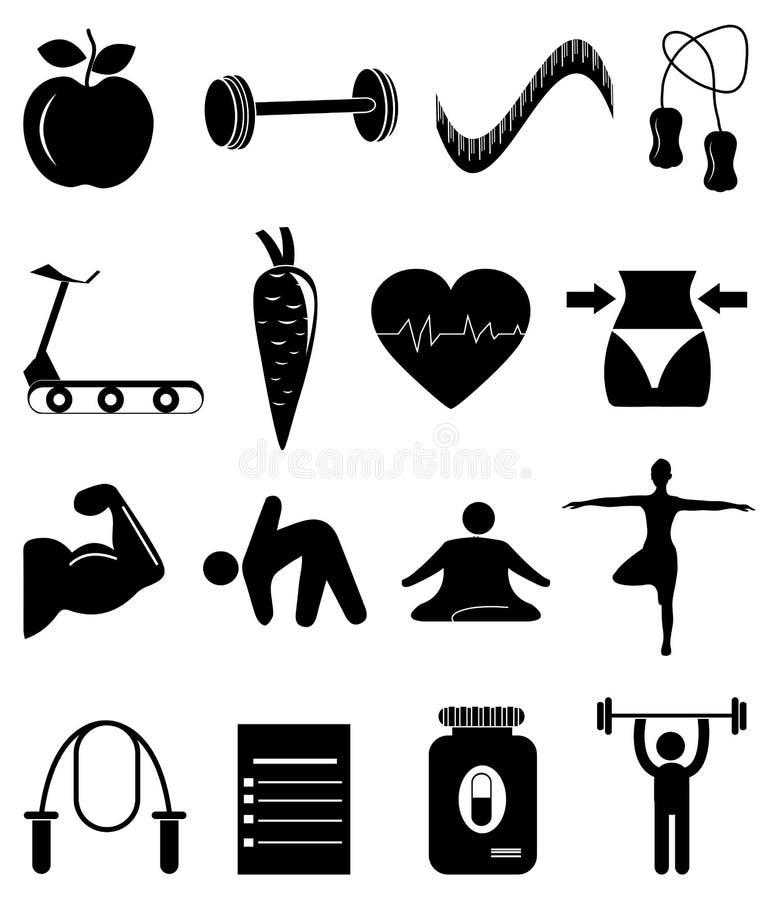 Ícones do exercício da dieta ajustados ilustração do vetor