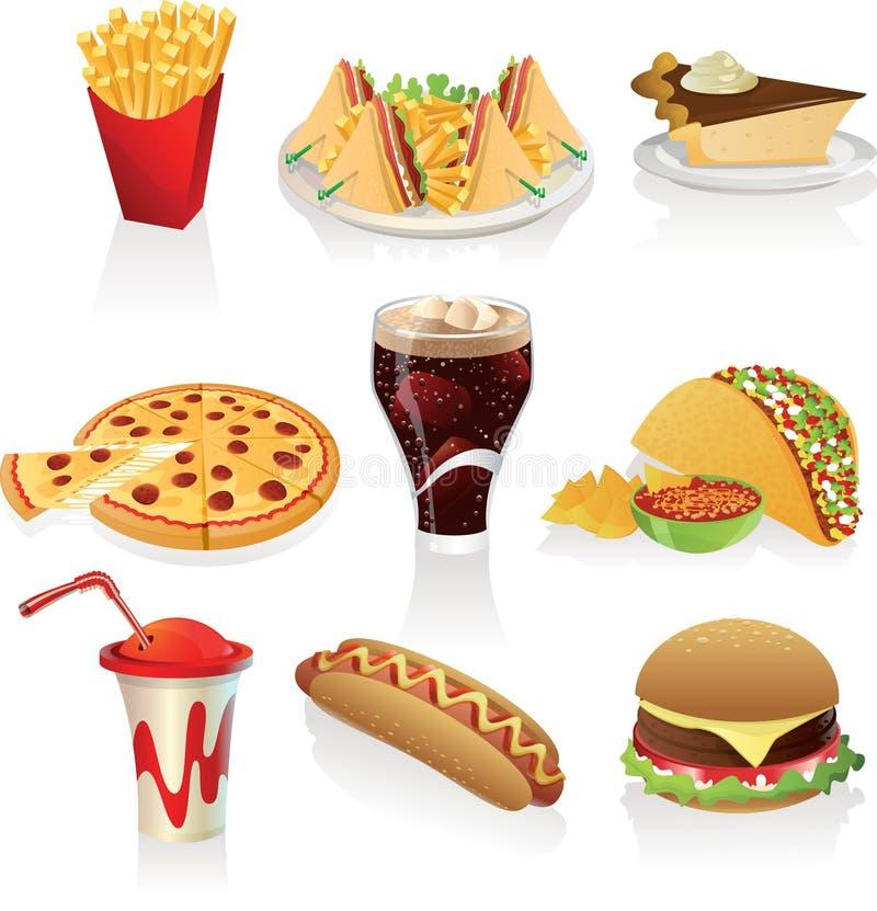Ícones do fast food imagem de stock