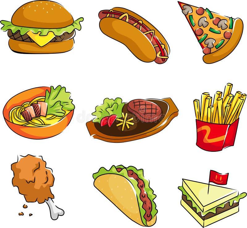 Ícones do fast food ilustração stock