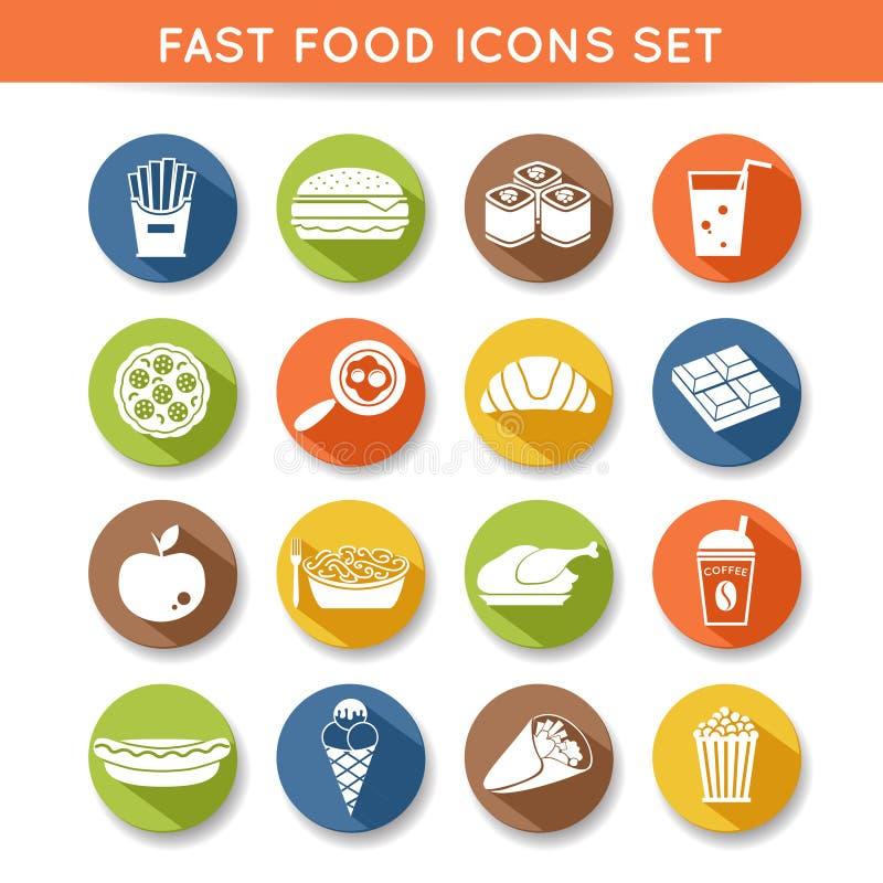 Ícones do fast food ilustração royalty free