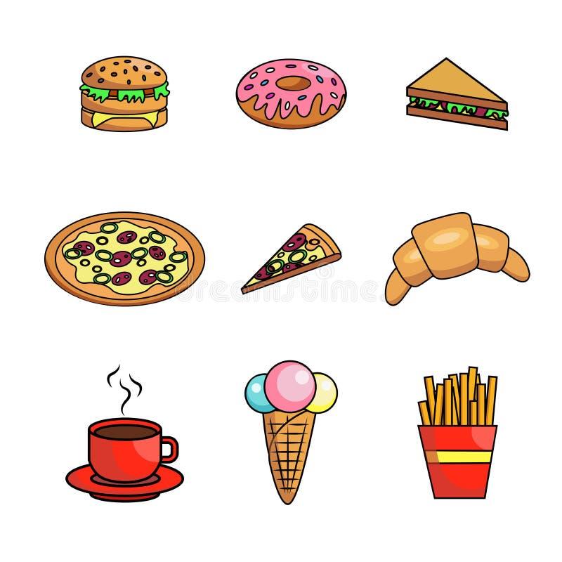 ícones do fast food ajustados imagem de stock
