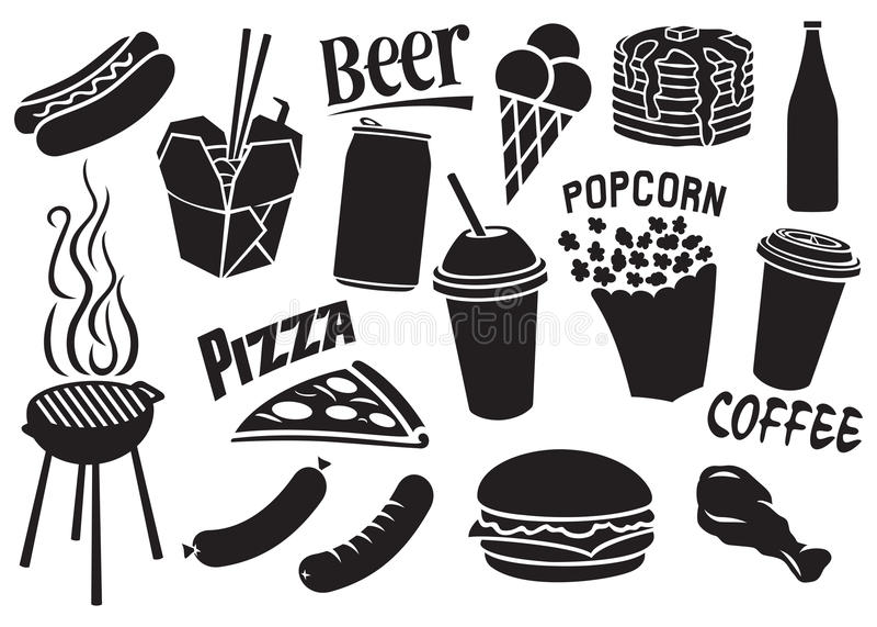 ícones do fast food ajustados ilustração do vetor