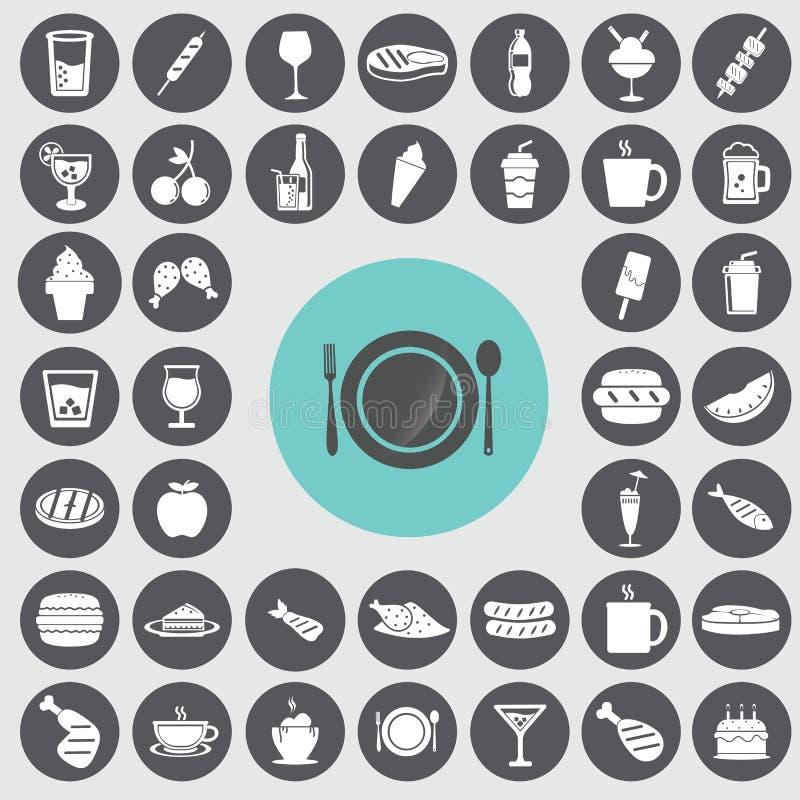 ícones do fast food ajustados ilustração royalty free