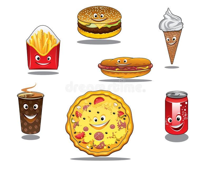Ícones do fast food e do alimento afastado ilustração royalty free