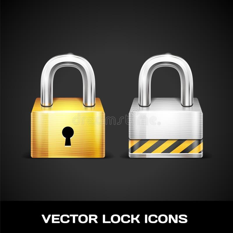 Ícones do fechamento do vetor ilustração stock