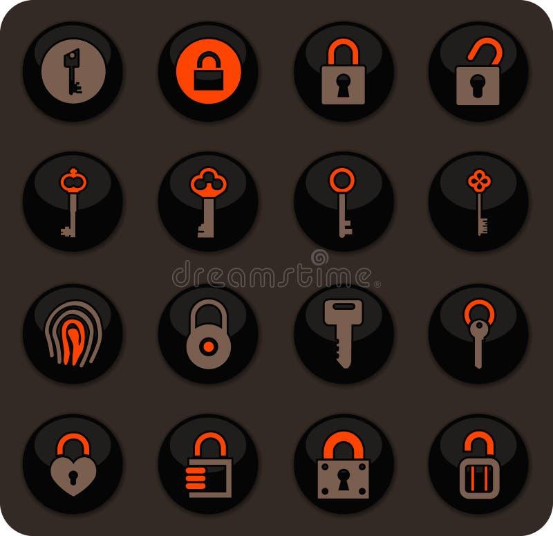 Ícones do fechamento e da chave ajustados ilustração stock