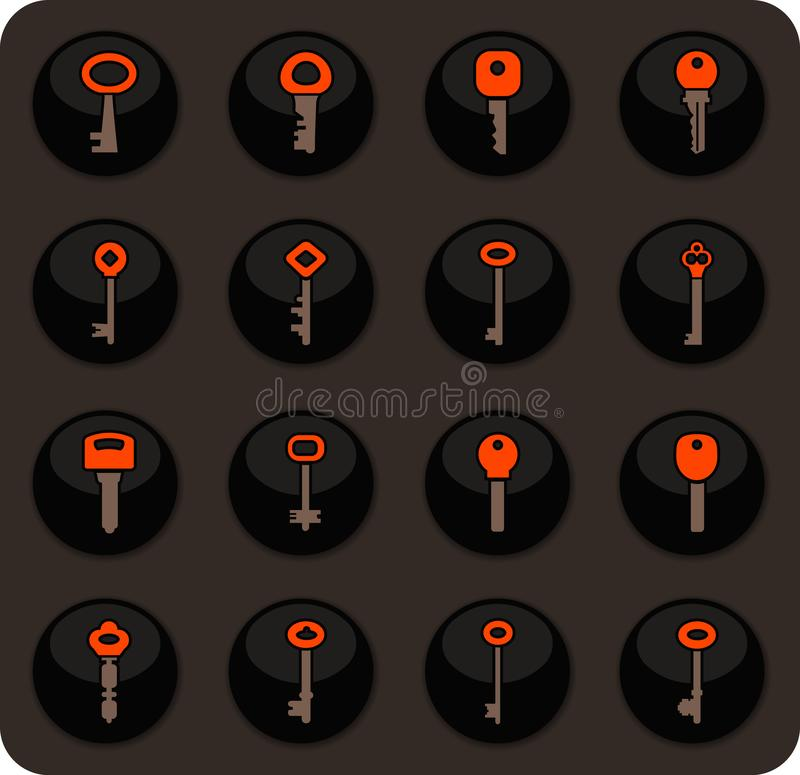 Ícones do fechamento e da chave ajustados ilustração royalty free