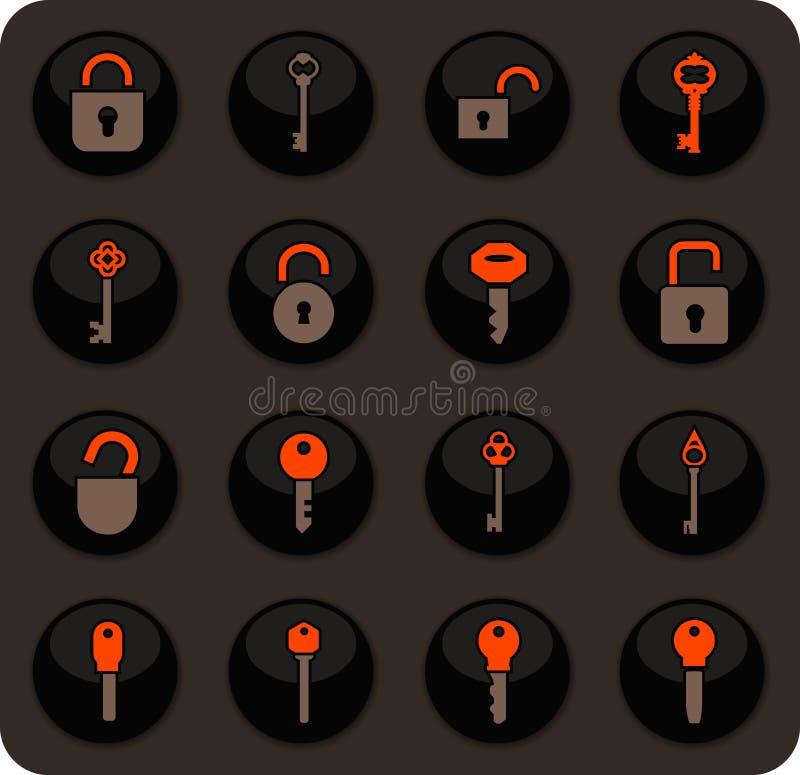 Ícones do fechamento e da chave ajustados ilustração do vetor